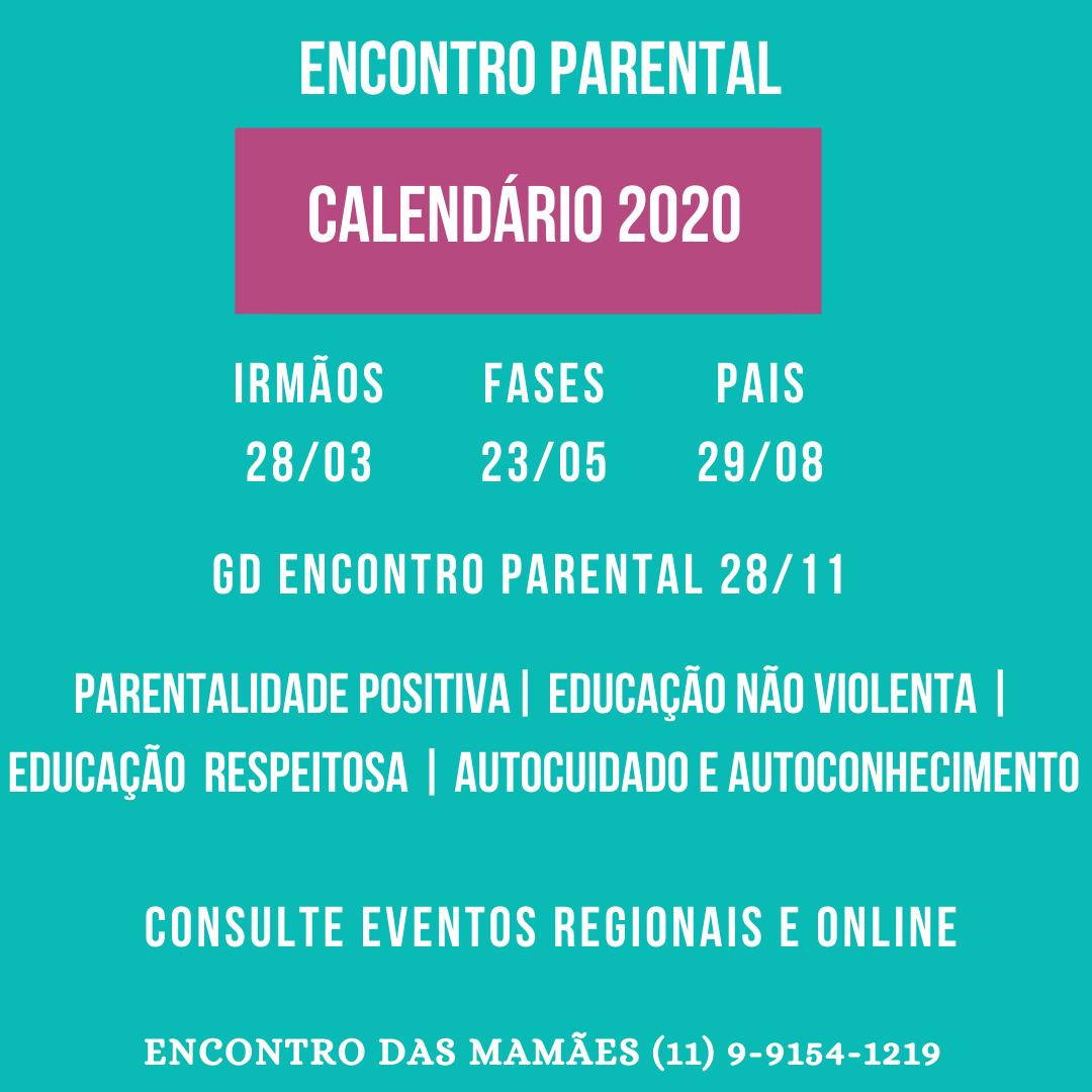 Calendário Encontro Parental 2020